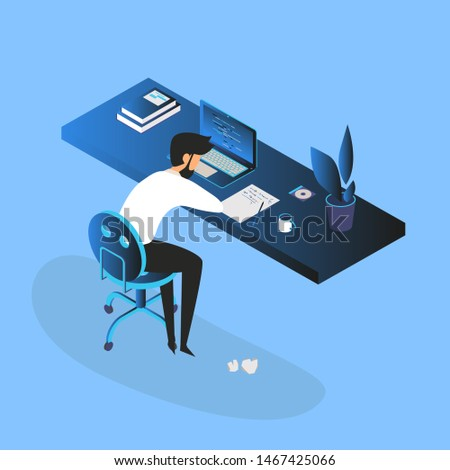 Burnout concept illustration with exhausted young man manager,  office worker sitting at the table. Frustrated worker, mental health problems. Vector illustration in flat style
