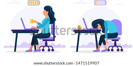 Burnout concept illustration with happy and exhausted female office worker sitting at the table with full and low battery. Frustrated worker, mental health problems. Vector illustration in flat style