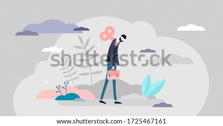 Burnout concept, tiny business person vector illustration. Exhausted low energy businessman losing work life balance. Mental breakdown and frustration from overworking. Depression and stress fatigue. Сток-фото ©