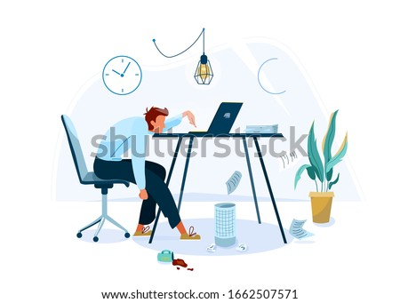 Burnout concept vector background. Tired male office worker sitting on the chair and trying work at the computer. Business flat cartoon illustration isolated on white backdrop.