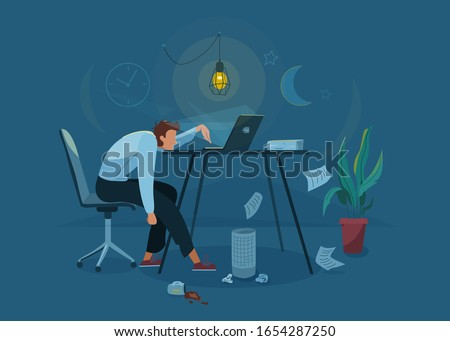 Burnout concept vector background. Tired man sitting on an office chair and trying work at the computer. Nighttime. Business flat cartoon illustration.
