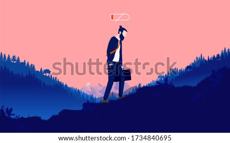 Burnout - Exhausted person walking up hill outdoors with low battery over head. Feeling down, depressed, overworked and low energy. Depression concept, vector illustration.