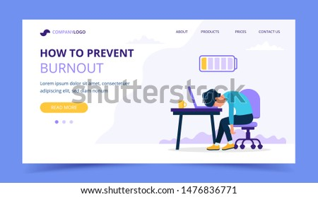 Burnout landing page with upset frustrated man worker, mental health problems. Vector illustration in flat style