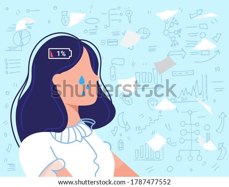 Burnout overwork business people flat vector illustration. Cartoon sad frustrated employee, overworked businesswoman crying due to burnout work problems, low energy battery crisis concept background