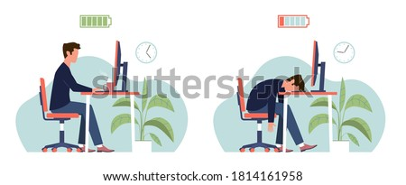 Burnout. Professional burnout syndrome. Tired man manager with full and low energy battery working on computer in workplace. Frustrated depressed office worker with stress, flat vector cartoon concept Photo stock ©