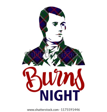 Burns night card with Robert Burns on tartan background.