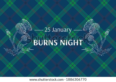 Burns night supper card. Thistle on tartan background. Burns Night - national holiday in Scotland. Template for invitation, poster, flyer, banner, etc. Stock photo ©