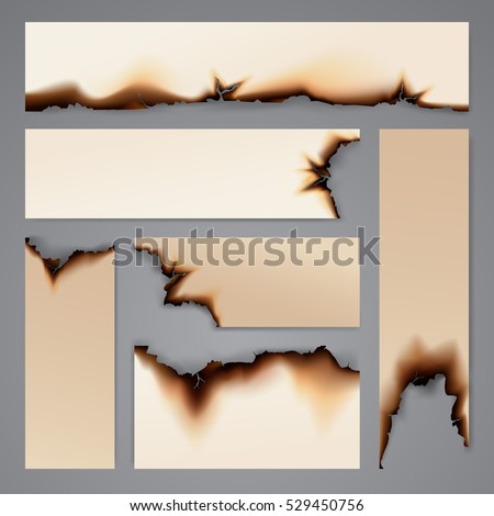 Burnt paper banner background template isolated vector illustration