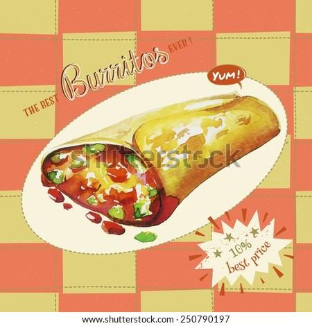 Burrito. Vector Illustration and seamless pattern.