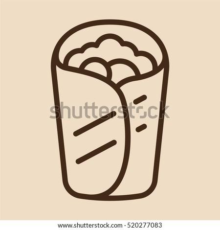 Burrito Wrap Minimalistic Flat Line Outline Stroke Icon Pictogram Symbol