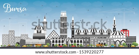 Bursa Turkey City Skyline with Color Buildings and Blue Sky. Vector Illustration. Business Travel and Concept with Historic Architecture. Bursa Cityscape with Landmarks.