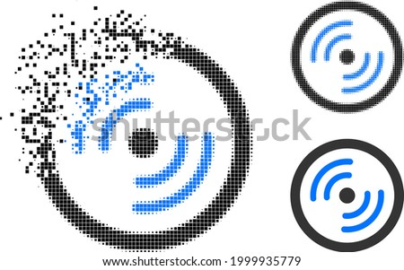 Burst dot rotor rotation icon with halftone version. Vector destruction effect for rotor rotation icon. Pixelated burst effect for rotor rotation demonstrates movement of virtual world. ストックフォト ©