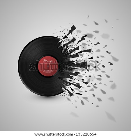 burst music sign vinyl disk