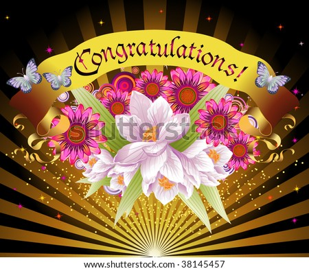 "burst of flowers and light with banner reading ""Congratulations"""