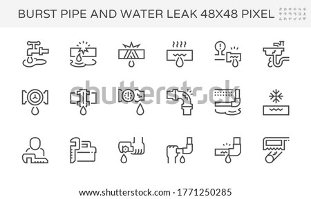 Burst pipe and water leak or plumbing problem and repair icon such as burst, leaking, noise and frozen at water supply pipe, faucet, valve control, fitting, connector, meter and underground location.