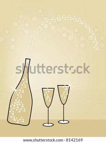 Bursting champagne bottle and glasses.