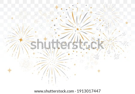 bursting fireworks with stars and sparks isolated on transparent background