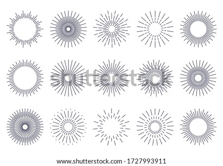 Bursting rays sunrise firework starburst burst for logotype, emblem, logo, tag, stamp, banner. Set of vintage hand drawn sunburst rays design elements, explosion black rays. Vector illustration.