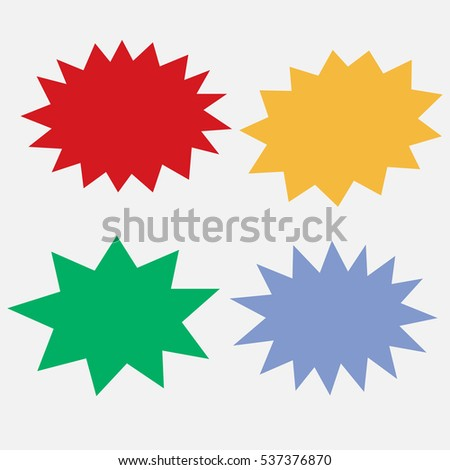 Bursting speech star set, comic style colorful clouds, vector clip art