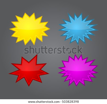 Bursting speech star set, starburst speech bubbles, vector illustration isolated