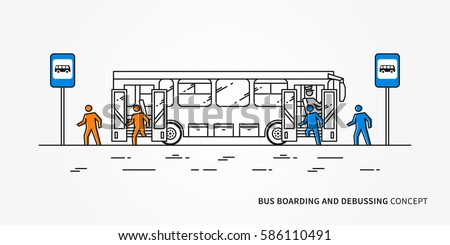 Bus boarding and debussing vector illustration. Public transport with driver and people, passengers who come in and come out bus.