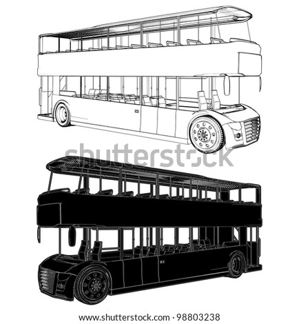 Bus Double Decker Vector 02