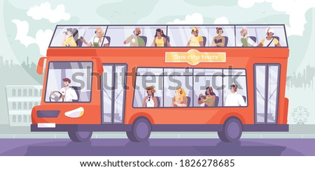 Bus excursion flat composition with cityscape silhouette background and doubledeck sightseeing bus with group of tourists vector illustration Stock photo ©