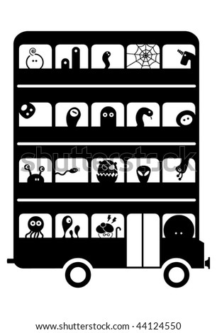 Bus full of different awful monsters