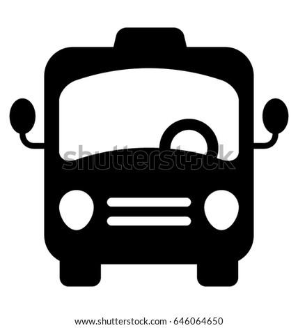 Bus Glyph Vector Icon