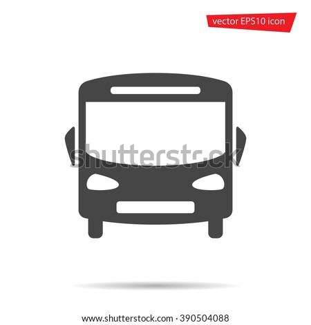 Bus icon. School auto isolated on background. Modern simple flat sign. Logo illustration.