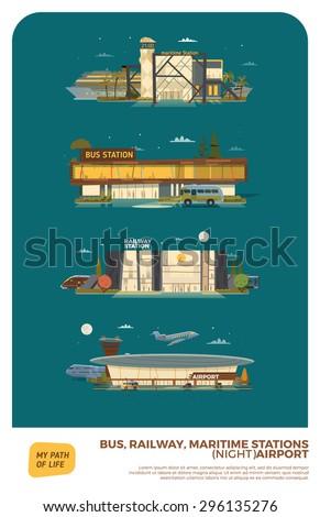 bus  maritime  railway stations