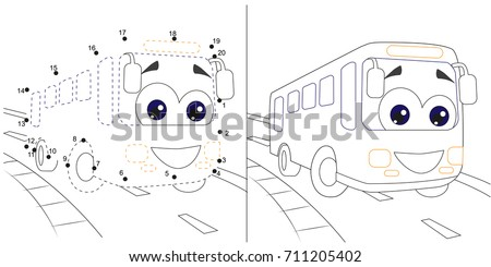 Busnumbers Game For Children Dot To Educational Kid Gamewith Answer