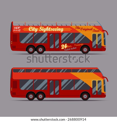 Bus picture, Red double decker travel, sightseeing city visiting, touristic transport, vector illustration, flat style, concept for design