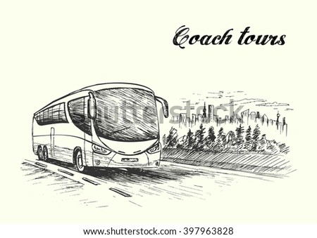 Bus quickly moving on highway,hand drawn, sketch style,vector, illustration.