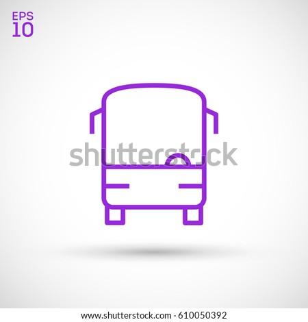 bus road line vector icon