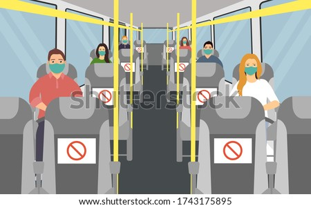 bus seating with social distance. man and woman in face mask. vector illustration