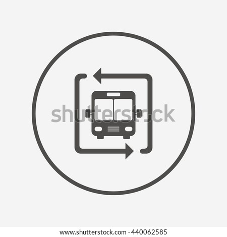 Bus shuttle icon. Public transport stop symbol. Round button with flat bus shuttle icon. Vector
