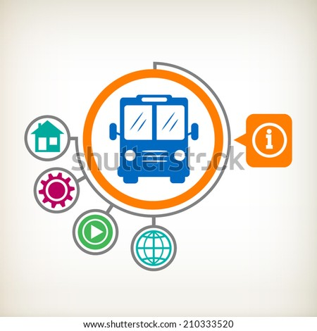 Bus sign icon. Public transport with driver symbol. Flat design for the web, print, banner, advertising.