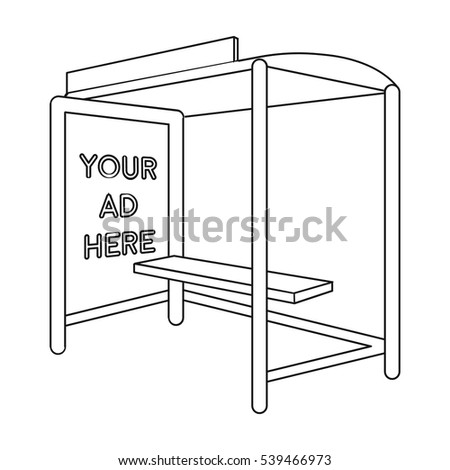 Bus station advertising icon in outline style isolated on white background. Advertising symbol stock vector illustration.