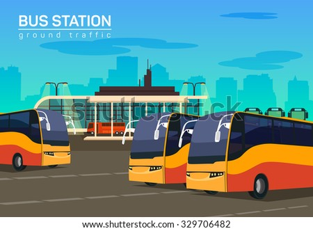 bus station  vector flat