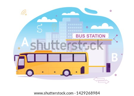 Bus Station with Vehicle Waiting for Psssengers Flat Cartoon Vector Illustration. Puplic Transport Route around City or Town. Urban and Countryside Traffic Concept. Comfortable Moving.