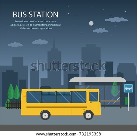 Bus stop, bus station. Vector illustration.