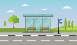 Bus stop cityscape flat vector illustration background set