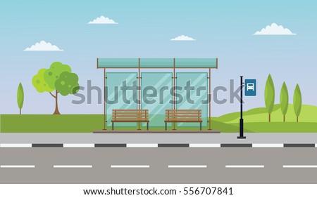 bus stop cityscape flat vector