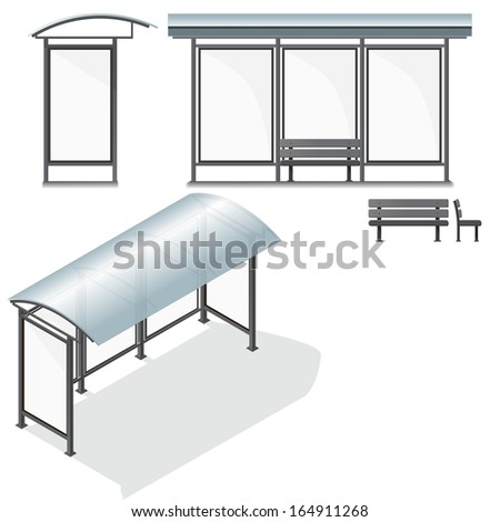 Bus Stop. Empty Design Template for Branding. Vector Illustration