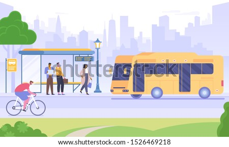 Bus stop flat vector illustration. People waiting for bus, man riding bicycle cartoon characters. Urban transportation means. Public transport on skyscrapers background. City infrastructure