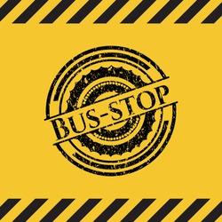 Bus-stop grunge warning sign emblem. Vector Illustration. Detailed.