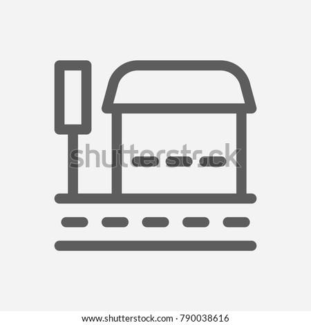 bus stop icon line symbol