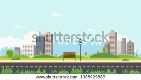 bus stop on main street city