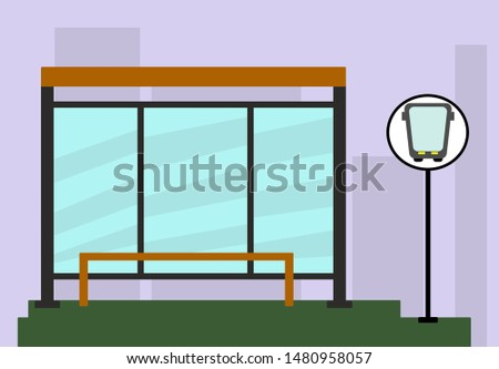 Bus stop on the background of the city. Stop and bus stop sign. Colored vector icon of public stop.